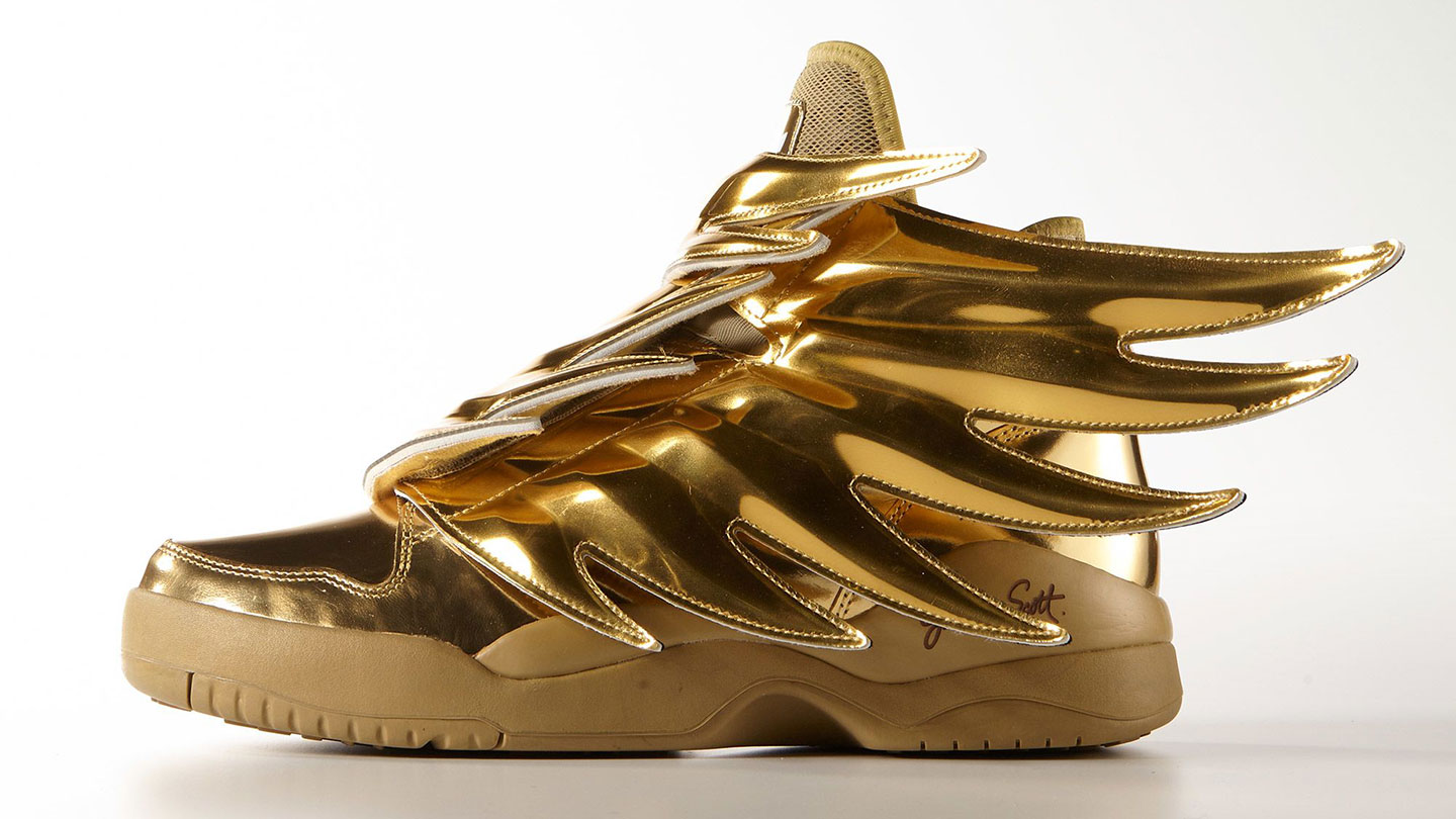 31b61416f3d4 Flying high with gold Adidas Wings 3 Jeremy Scott sneakers