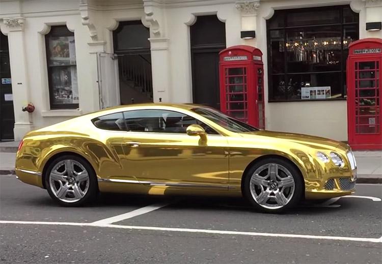 Bentley Continental GT gold wrap London 1