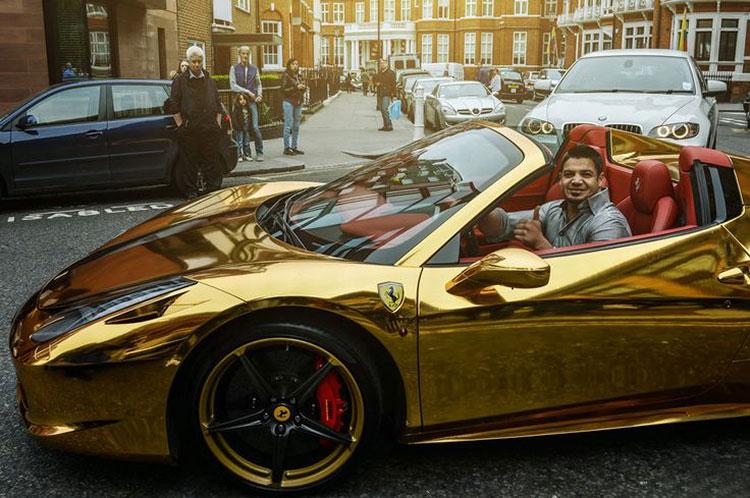 Ferrari 458 spider gold London red interior
