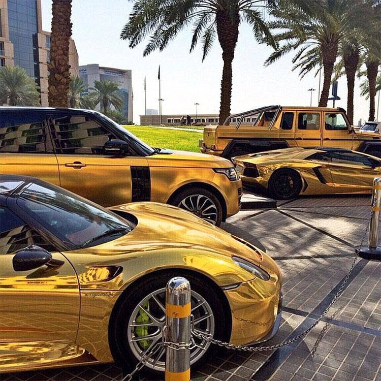 gold cars desert