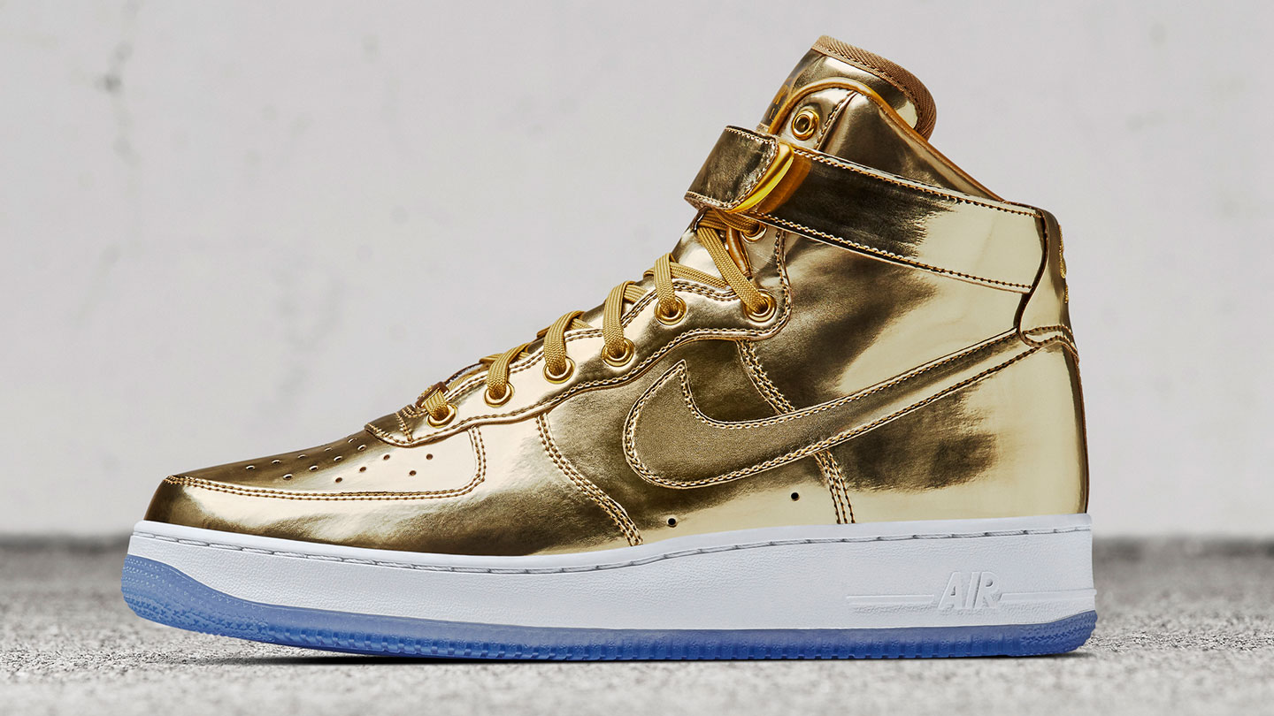 Gold Glory Gold Nike Air Force 1 And Nike Air Max 90