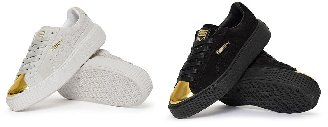Platform Pumas With Gold Toe