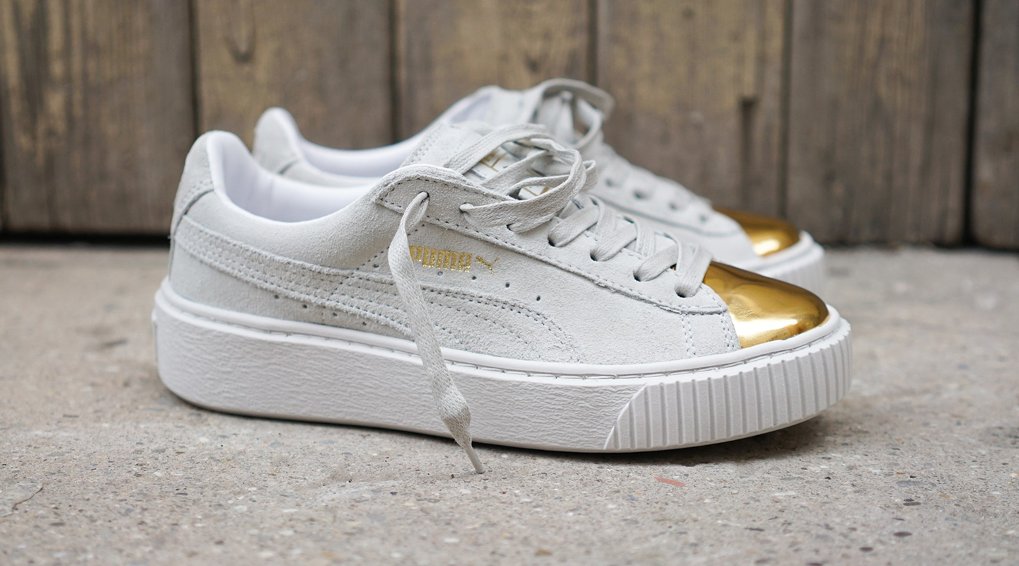 sale retailer 8d85d a4ad5 Puma Suede Platform Gold Toe Shoes - Gold Blog