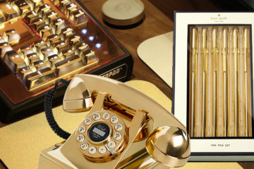 gold desk accessories phone
