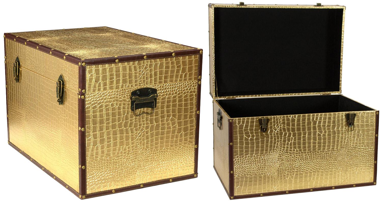 oriental furniture gold trunk