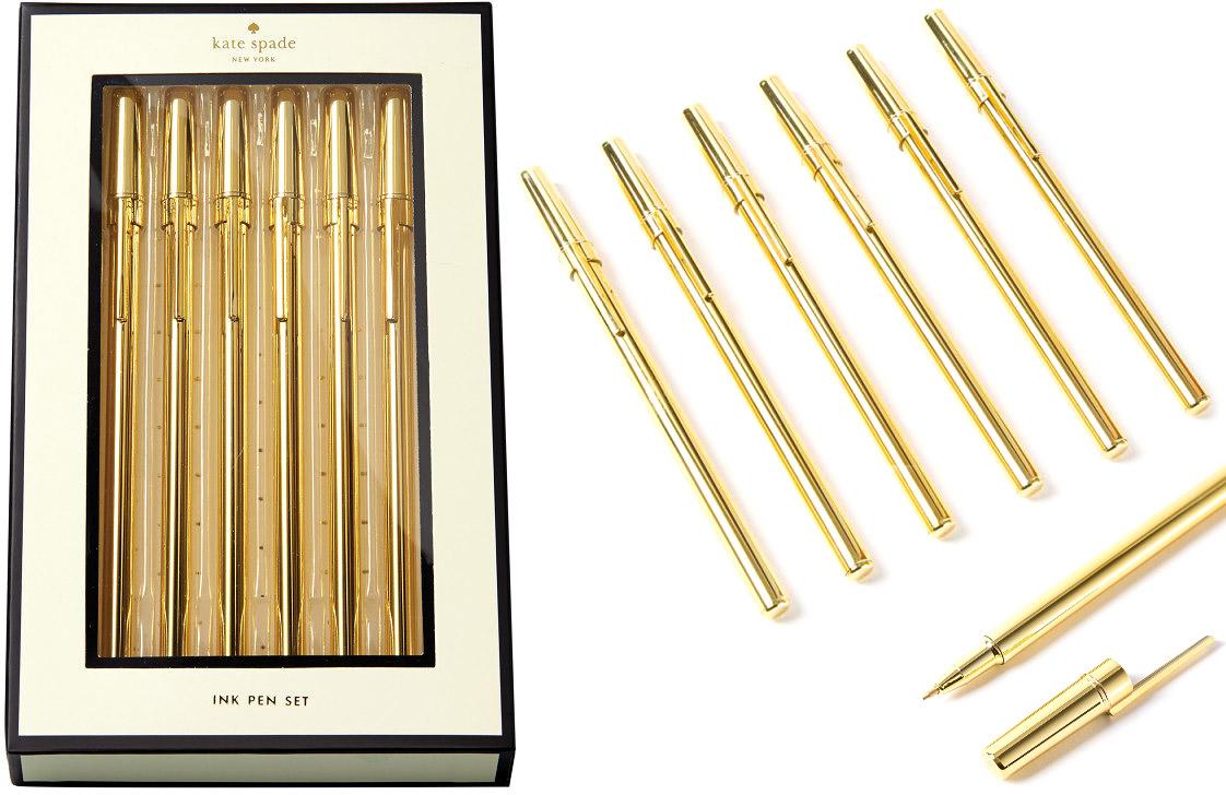 kate spade new york gold pens